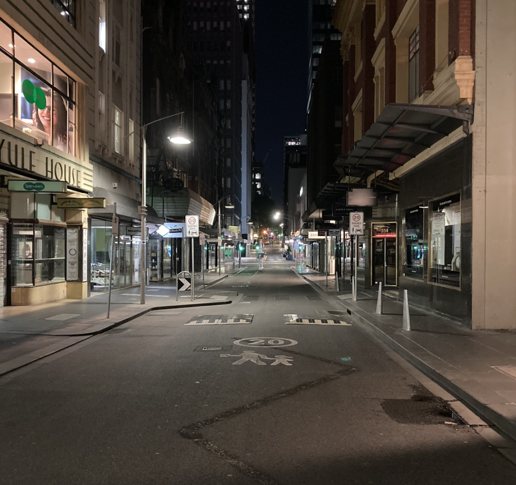 An empty street in Melbourne's CBD towards the end of lockdown with no people.